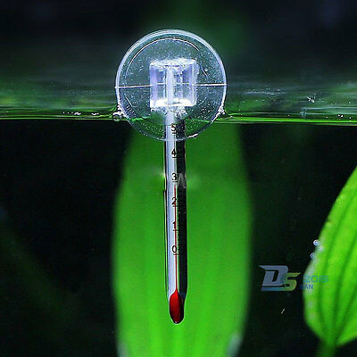 Glass Meter Water Temperature Thermometer W/ Suction Cup for Aquarium Fish Tank
