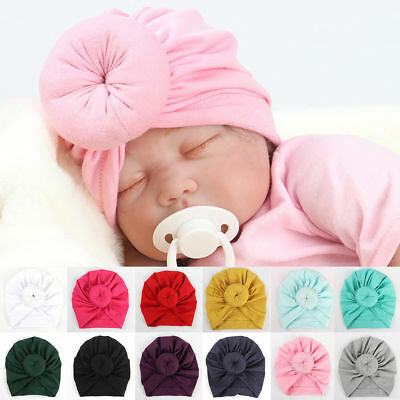 New Toddler Kid Baby Boy Girl Indian Turban Knot Cotton Beanie Hat Cap Top