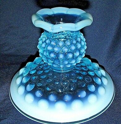 Vintage FENTON England Art Glass Blue Opalescent Candle Holder Hobnail 11CmT