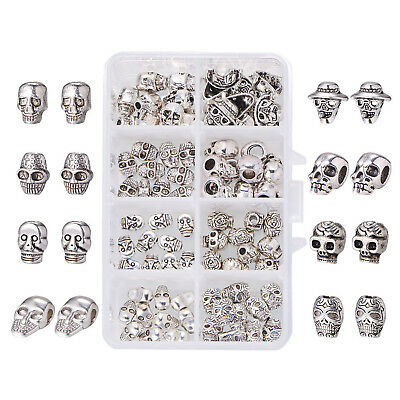 80pcs/box Vintage Sliver Skull Head Metal Spacer Bead Charms for Jewelry Making