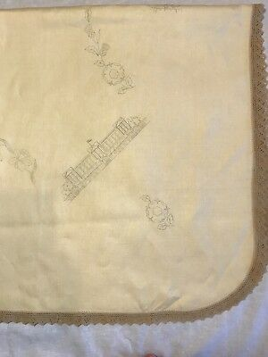 Vintage Stamped/Traced Tablecloth to Embroider, British Royal Processional 135cm
