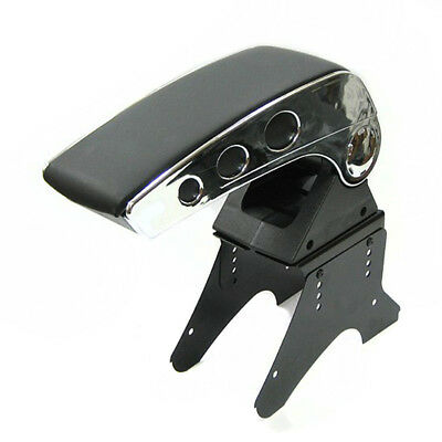 Universal Black Armrest Arm Rest Centre Console Padded Leather Box Cup Holders