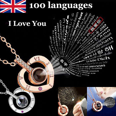 I LOVE YOU in 100 languages Silver Gold Pendant Necklace For Memory of LOVE Gift