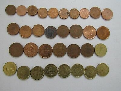 Lot of 33 Different Euro Country Type Coins - Circulated & BU