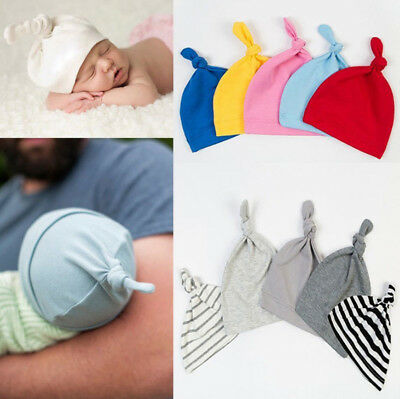1x Newborn Baby Boys Girls Beanie Knotted Cotton Hat Soft Cap Infant Toddle Hat