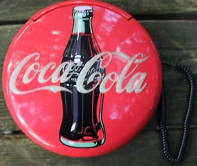 "Coca Cola Coke 12"" Lighted Round Red Button Sign Telephone Phone Wall/Table Top"