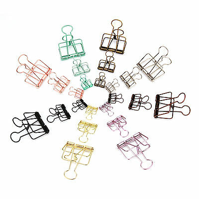 15 PCS Hollow Binder Clips Office Home Craft Use Metal 19mm 33mm 50mm Wide
