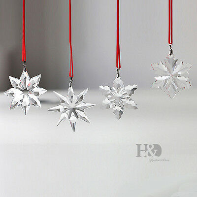 4 Clear Crystal Glass Snowflake Ornament Xmas Gift Christmas LARGE STAR