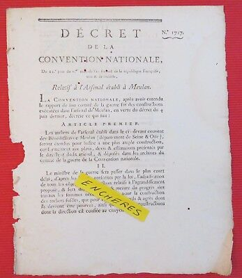 Arsenal de Meulan - Décret de la Convention Nationale (Bénédictins) vieux papier