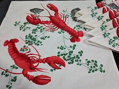 Vintage 50's Bright Heavy Cotton Wilendur Lobster Clams Dinner Napkins Lot of 6