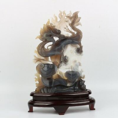 Chinese Exquisite Hand-carved Dragon Ganoderma carving agate statue