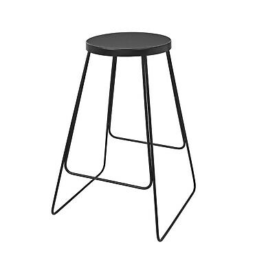 Broste Copenhagen Tricia Bar Stool Black Base Castlerock slight Crack Seat Pad