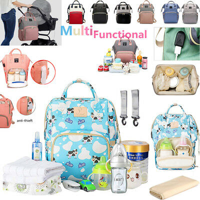 Anti-thieft USB Port Mummy Mom Backpack Baby Diaper Nappy Changing Bag Travel