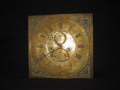 Antique Grandfather Clock Movement & Brass Face Dial