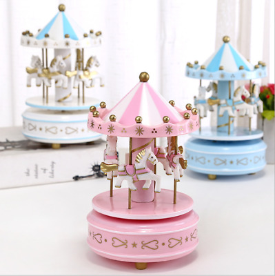 Xmas Gift Wooden Merry-Go-Round Carousel Music Box Kids Toys Wind-Up Musical Box
