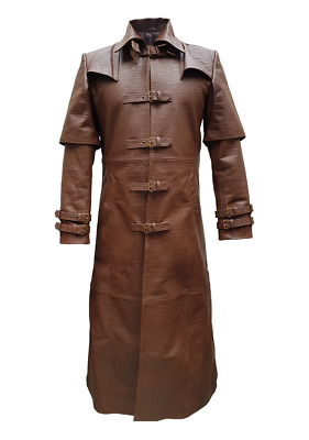 Mens Real Crocodile Leather Goth Matrix Trench Coat Steampunk Gothic Van Helsing