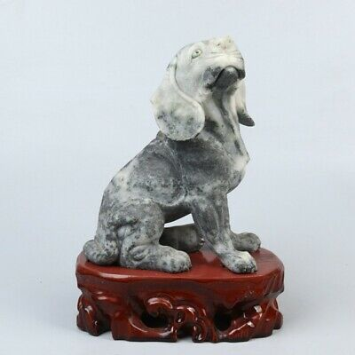 Chinese Exquisite hand-carved dog carving Dushan jade statue