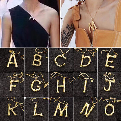 Personalized Women Gold Plated Initial Large 26 Letter Pendant Necklace Gift