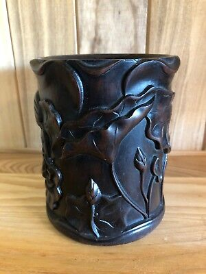 Chinese Antique Carved Zitan Wood Scholars Brush Pot Qing Fine