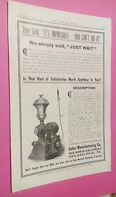 1909 Coles Commercial Coffee Mill, Ray Copper Twin Coffee Urns Orig. Illust. Ads