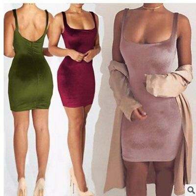 Female Sexy Velvet Sleeveless Bodycon Dress Cocktail Evening Mini Tight Dress RB