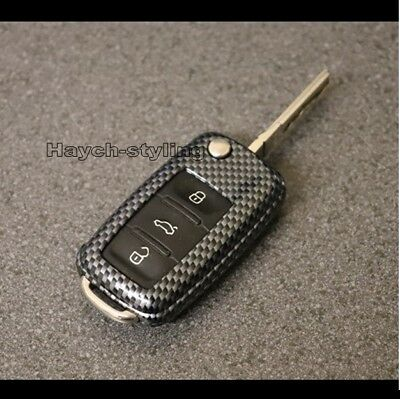 Carbon Fiber VW GOLF Mk5 SEAT LEON SKODA Remote Key Cover Case Fob