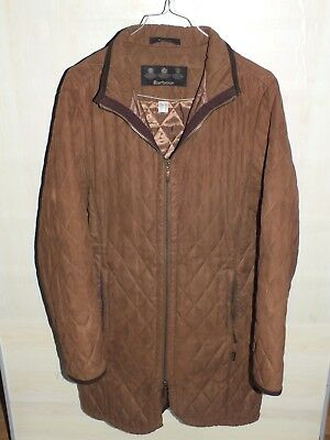 barbour polarquilt duracotton jacket brown waxed   size us 10