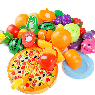 24Pcs Kids Food Cutting Toy Pretend Role Play Kitchen Fruit Vegetable Cake XMAS