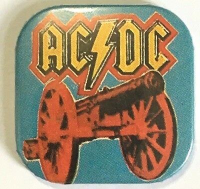 AC/DC Old OG Vtg Early 1980`s Square Button Pin Badge Concert Tour