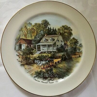 Pickard Currier & Ives American Homestead Summer Cabinet Plate, Fab Cond