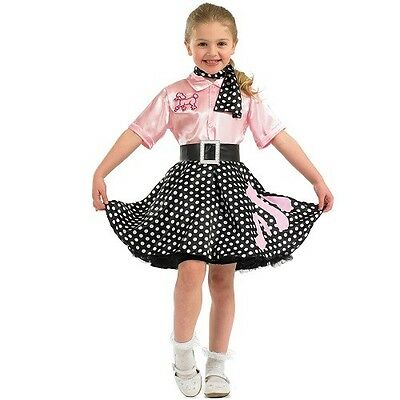 Kids Girls 1950s 50s Rock n Roll Poodle Fancy Dress Costume 50's Outfit New