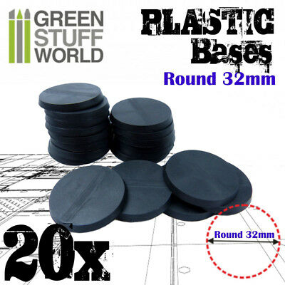 20x Plastic Round Bases 32mm Black - Thickness 3mm Basing Wargames Miniatures