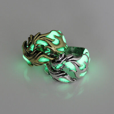 Dragon Luminous Glow In the Dark Ring Vintage Punk Gothic Men Women Ring Gift CB