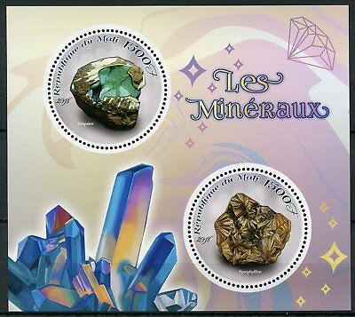 Mali 2018 MNH Minerals Anapaite Pyrophyllite 2v M/S Mineraux Mineral Stamps