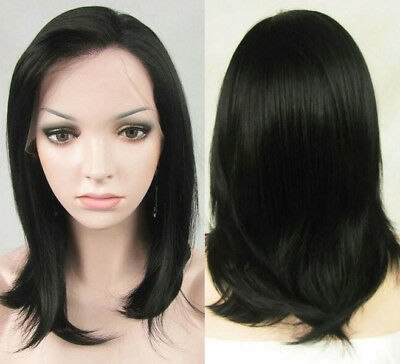 """AU 14"""" Lace Front Wig Synthetic Hair Natural Black Straight Full Head Handtied"""