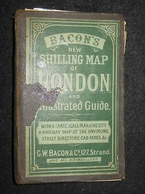Bacon's New Shilling Map of London (c1887) inc Illustrated Guide, Cab Fares,RARE