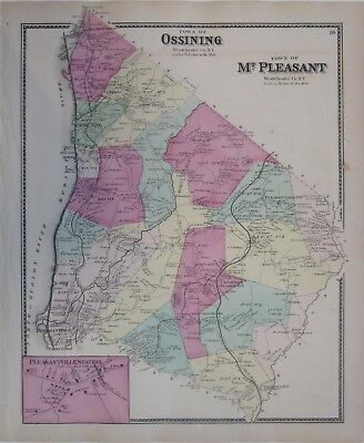 Original 1867 OSSINING SLEEPY HOLLOW PLEASANTVILLE Map Westchester County NY