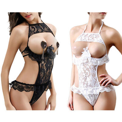 Women Sexy Lingerie Lace Floral  Open Bust  Transparent Sleepwear Pajamas US