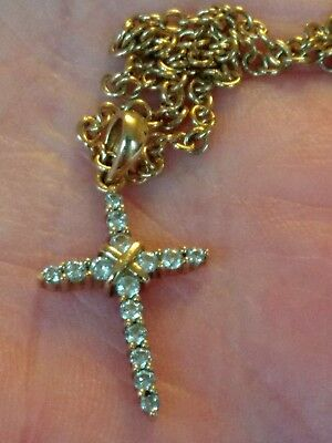 Pretty 9ct Gold Diamond Cross & Chain