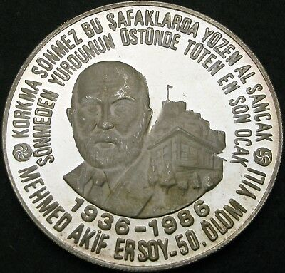 TURKEY 10000 Lire 1986 Proof - Silver - Mehmed Akif Ersoy - 1813 ¤