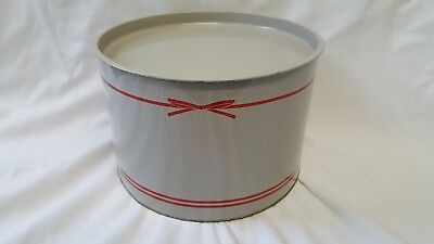 Vintage Mary Quant Grey With Red Stripe Large Storage Tin Hat Cake Kitchenalia
