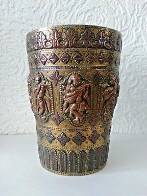Unusual Large Heavy Antique Indian Copper, Brass, Silver Gilded Beaker Vase 13cm