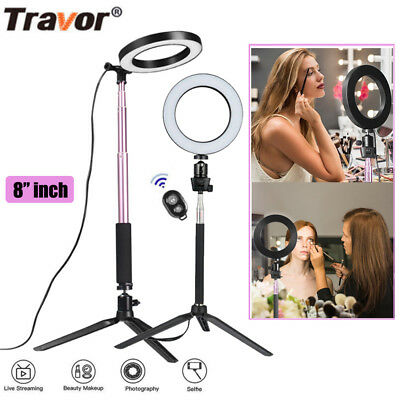 "6""/8"" LED Studio Ring Light Photo Video Dimmable Lamp Light Kit For Camera Phone"