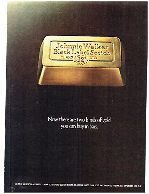 1974 Johnnie Walker Black Label Scotch Gold Vintage Print Ad