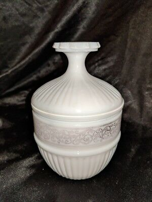 Vintage White Milk Glass Round Covered Trinket Candy Dish Silver Pink overlay