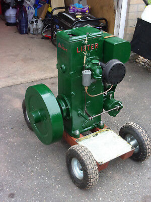 Lister D Stationary Engine in restored to running condition on trolley
