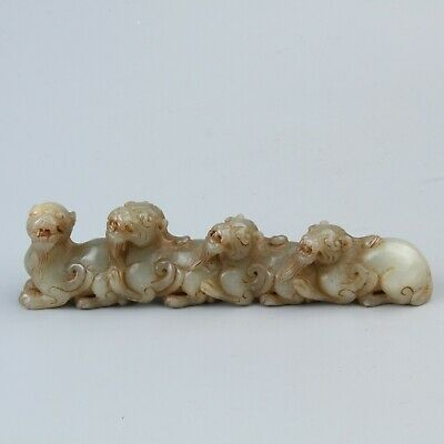 Chinese Exquisite Hand-carved Four beasts carving Hetian jade statue