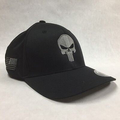 Flexfit Brushed punisher Hat Gray & Black Cap Tactical US Flag On Side