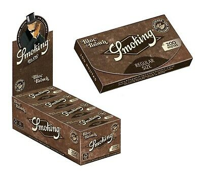 Papel Smoking Brown 200, 10 libritos de 200 hojas, papel liar natural marron