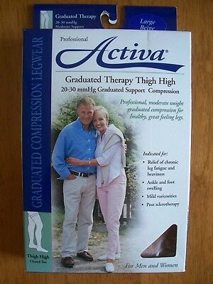 Activa, Sheer Therapy Socks, H3203, Large, Thigh High, Nude, 20-30 mmHg, New